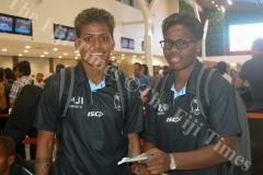 Miriama Naiobasali (left) with Raijieli Daveua at Nadi International Airport. Picture: MACIU MALO