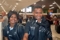 Captain Ana Maria Roqica (left) with Viniana Riwai at Nadi International Airport. Picture: MACIU MALO