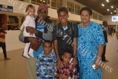 Miriama Naiobasali with her family at Nadi International Airport. Picture: MACIU MALO
