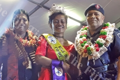 Digicel Duavata Northern Crime Prevention Queen Silika Jeniffer is being crowned by ACP Maretino Qiolevu in Labasa on Saturday night. Picture SERAFINA SILAITOGA (2)