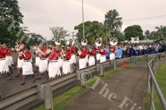 The RFMF band leads the students from Lelean Memorial School march through Nausori during the school's Diamond Jubilee cebration at the school ground in Nausori on Saturday. Picture: SUPPLIED.