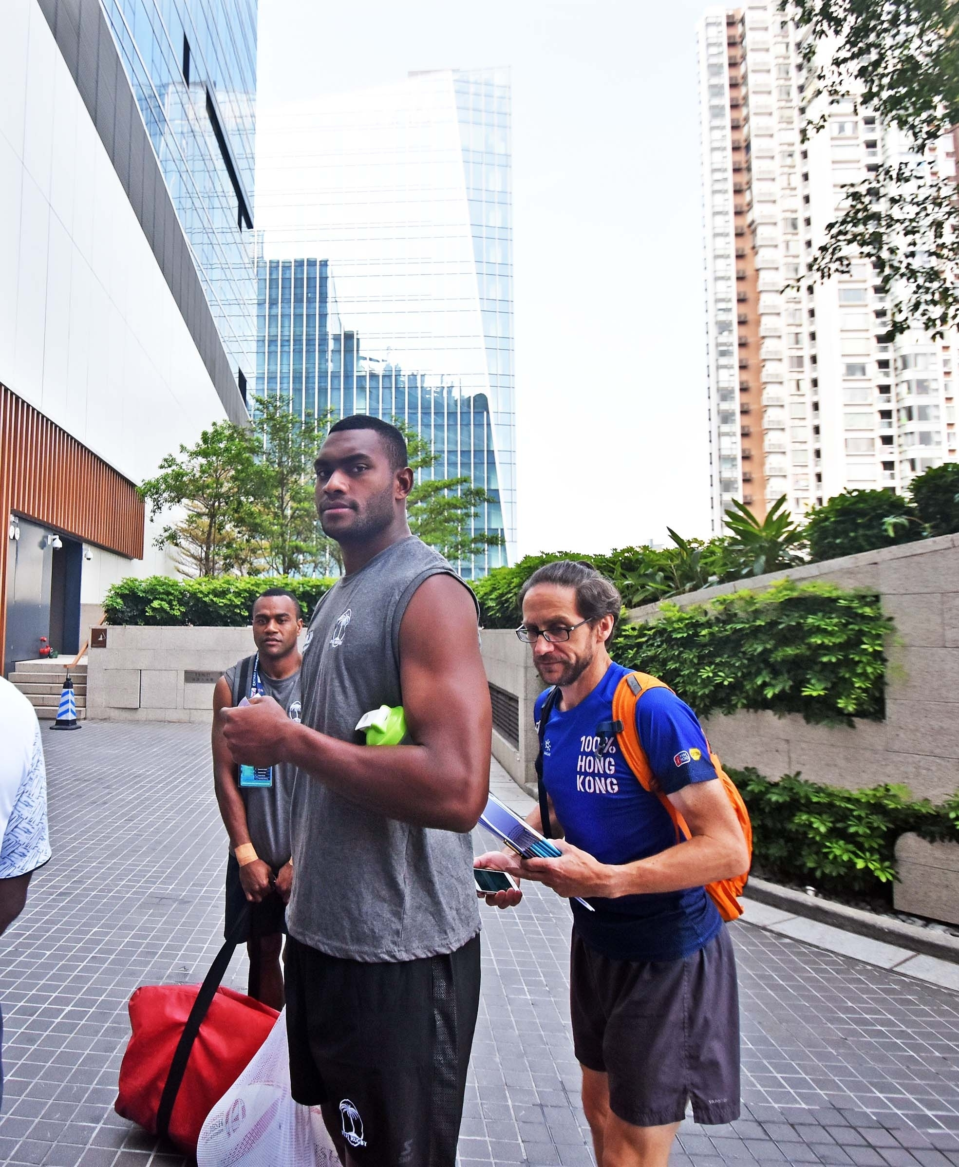 Mesulame Kunavula of Fiji Airways Fiji 7's team leaves the hotel for training at gym in Hong Kong yesterday. Piocture: RAMA