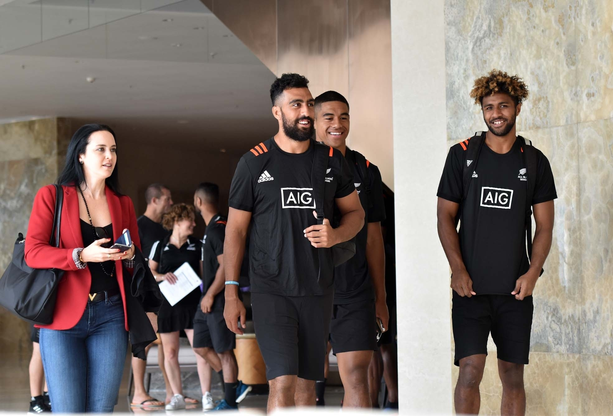 Waisake Masirewa (right) of New Zealand 7's team at the hotel in Hong Kong yesterday. New Zealand team is pooled together with Fiji,Russia and Samoa.Picture: RAMA