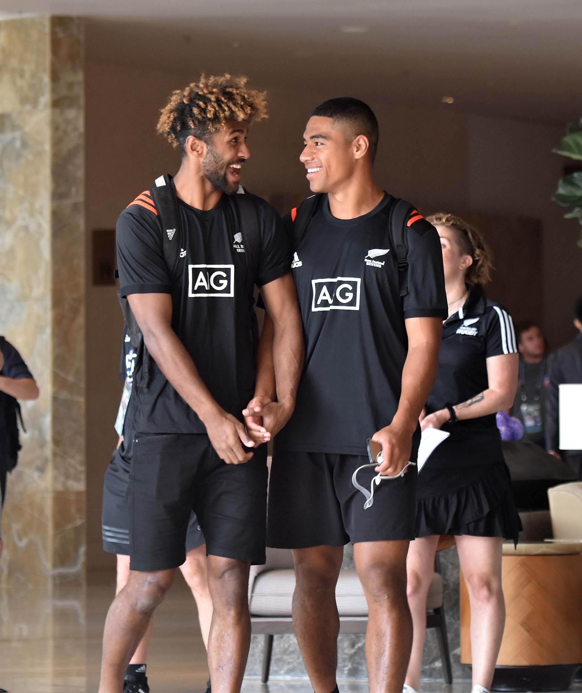 Joe Ravouvou of New Zealand 7's team having a light moment with a team member at the hotel in Hong Kong yesterday. New Zealand team is pooled together with Fiji,Russia and Samoa.Picture: RAMA