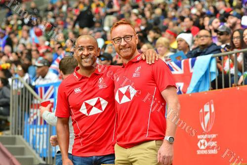 Australia's most capped international player George Gregan and former Fiji 7s coach Ben Ryan at the Canada 7s. Picture: JOVESA NAISUA