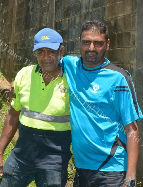Amena Seru with his employer Narayan Reddy at the Lautoka market. Picture: BALJEET SINGH