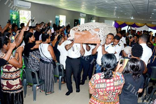Pallbearers carry the coffin of Pacific Flying School instructor Iliesa Tawalo after the church service in Nadi last week. Picture: BALJEET SINGH