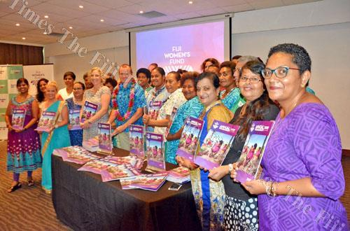 Australian High Commissioner John Feakes, with garland, is pictured with participants during the Fiji Women's Fund launch at the Holiday Inn in Suva on Friday, March 9. Picture: JONACANI LALAKOBAU