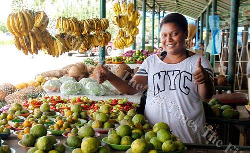 Luisa Radinivuya, a market vendor at the Bailey Bridge market at her stall yesterday. Picture: ATU RASEA