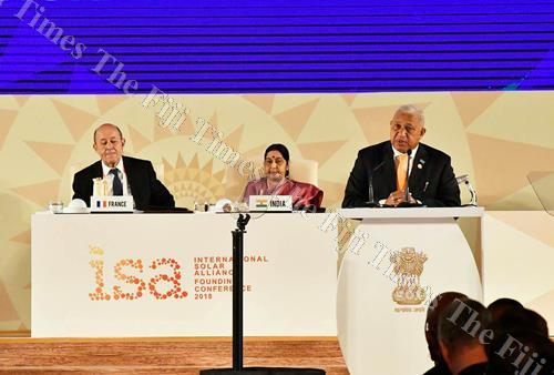 Prime Minister Voreqe Bainimarama speaks at the ISA founding conference in New Delhi. Picture: Supplied