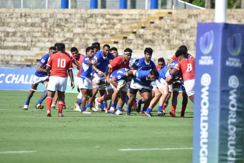 Action from the match between Samoa A and Tonga A at the ANZ Stadium in Suva this afternoon. Picture: RAMA