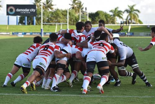Action from this afternoon's match between Fiji Warriors and Junior Japan. Picture: RAMA