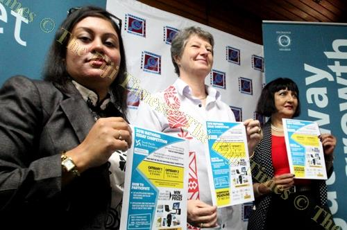 South Pacific Stock Exchange CEO Krishika Narayan, Ministry of Education, Heritage and Arts permanent secretary Alison Burchell and SPSE chairperson Dr Nur Bano Ali after the launch of the 2018 National Essay Competition at the Reserve Bank of Fiji yest