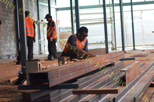 Construction works on the Jaduram Corporation Mall continues in Labasa Town. Picture: LUKE RAWALAI