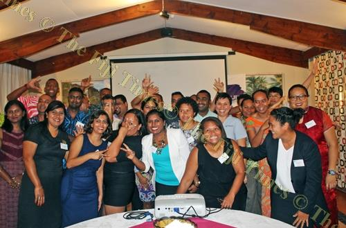Leadership Fiji members at the launch of the 2018 program in Suva last Thursday night. Picture: VILIMAINA NAQELEVUKI