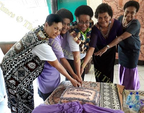 The wife of Tui Macuata, Filomena Katonivere (second from left), and other women mark International Women's Day in Labasa. Picture: LUISA QIOLEVU
