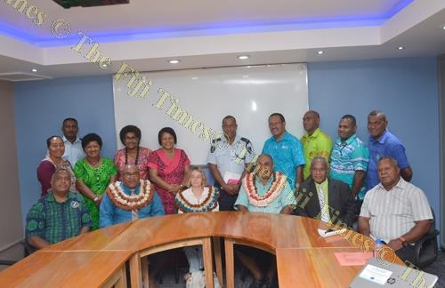 Assistant Minister for Agriculture, Rural and Maritime Development and National Disaster Management Joeli Cawaki with other guests at the newly-opened Tavua Emergency Operations Centre. Picture BALJEET SINGH