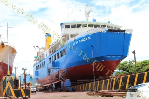 The Samoan Government vessel Lady Samoa III at the Fiji Ships and Heavy Industries Ltd slipway in Suva. Picture: SUPPLIED.