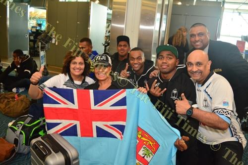 Fiji 7s fans at YVR International Airport in Vancouver to farewell the Fiji Airways Fiji 7s team yesterday. Picture: JOVESA NAISUA