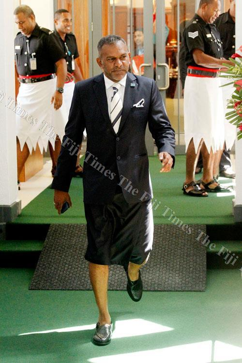 Minister for Industry, Trade and Tourism Faiyaz Koya outside Parliament yesterday. Picture: JONA KONATACI