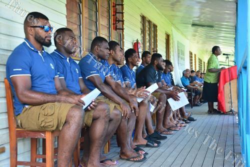 Members of the Fiji Warriors team at Draiba Primary School yesterday. Picture: JONACANI LALAKOBAU
