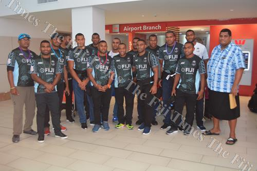 The Fiji Airways Fiji 7s team at the Nadi International Airport yesterday after winning the Canada 7s. Picture: REINAL CHAND