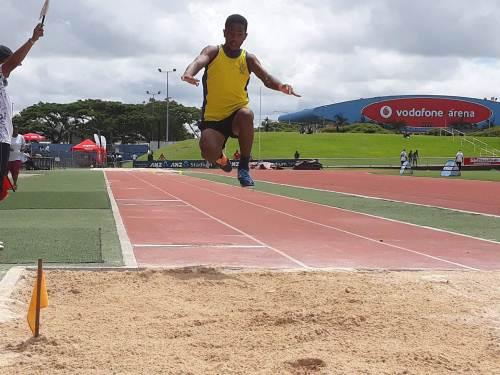 Laisiasa Katia of Shreedhar Maharaj College participates in the junior boys long jump event. Picture: ALISI VUCAGO