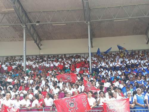 Students of Adi Cakobau School and Lelean Memorial School cheer on their athletes at the ANZ Stadium in Suva. Picture: ALISI VUCAGO