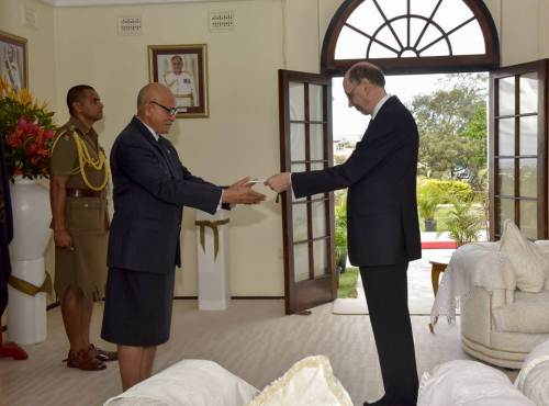 Non-resident Ambassador of Finland to Fiji Lars Erik Backstrom presents his credentials to President Jioji Konrote at Borron House. Picture: SUPPLIED