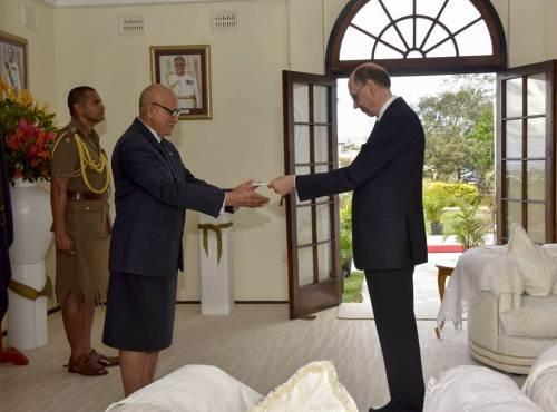 Non-resident Ambassador of Finland to Fiji Lars Erik Backstrom presents his credentials to President Jioji Konrote at Borron House. Picture: SUPPLIED