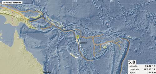 The map showing the epicentre of the 5.0 magnitude earthquake that was recorded in the Vanuatu region this afternoon. Picture: SUPPLIED