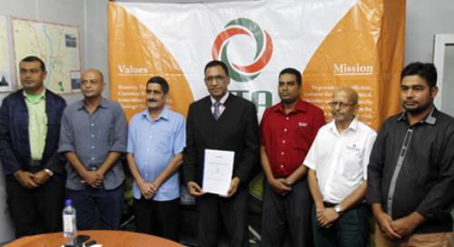 Representatives of the five companies contracted by LTA as authorised motor vehicle inspection agencies, pictured with board chairperson Vijay Maharaj after the signing. Picture: ATU RASEA