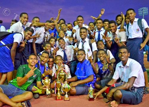 Lelean Memorial School students celebrate after winning the overall boys division during the Nasinu-Naitasiri-Nausori (Triple N) Secondary Schools Athletics Zone competition at the ANZ Stadium in Suva yesterday. Picture: JONACANI LALAKOBAU