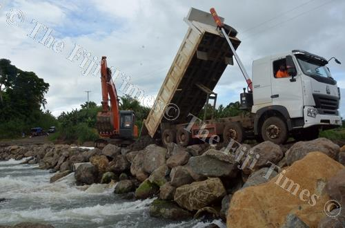 Higgins Fiji works on restoring the Savusavu crossing in Ra last Friday. Picture: REINAL CHAND