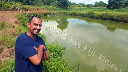 Jesse King at their family tilapia fish farm at Baulevu, outside Nausori. Picture: ELIKI NUKUTABU