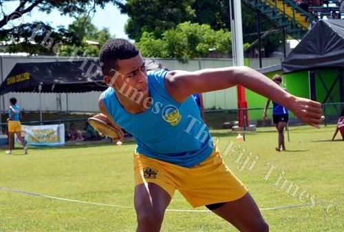 Nilsen College student Vetaia Koro competes in the junior boys discus throw during the Tavua, Ra, Nadarivatu, Vatukoula zone meet at Garvey Park in Tavua yesterday. Picture: BALJEET SINGH