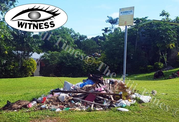 Rubbish dumped beside a 'no-rubbish dumping site' along Grantham Rd in Raiwaqa, Suva. Picture: ELIKI NUKUTABU