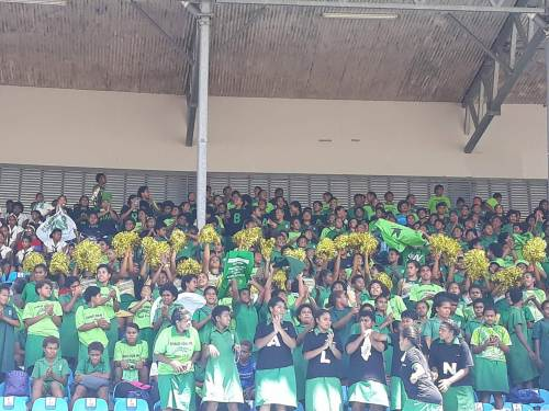 Students of Ballantine Memorial School cheering on their athletes. Picture: ALISI VUCAGO