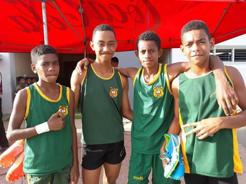 Tupou Waqailotua, second from left, with members of the RSMS sub-junior boys 4?100m relay team. Picture: ALISI VUCAGO