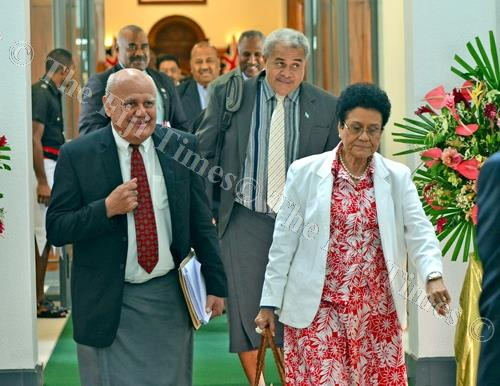 Opposition MPs Viliame Gavoka (left)and Mere Samisoni at Parliament yesterday. Picture: JONACANI LALAKOBAU