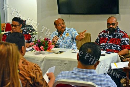 Fiji-USA Business Council president Himmat Lodhia (middle) speaks to members during the Fiji-USA Business Council annual general meeting at the Peninsula Hotel in Suva on Thursday. Picture: JONACANI LALAKOBAU