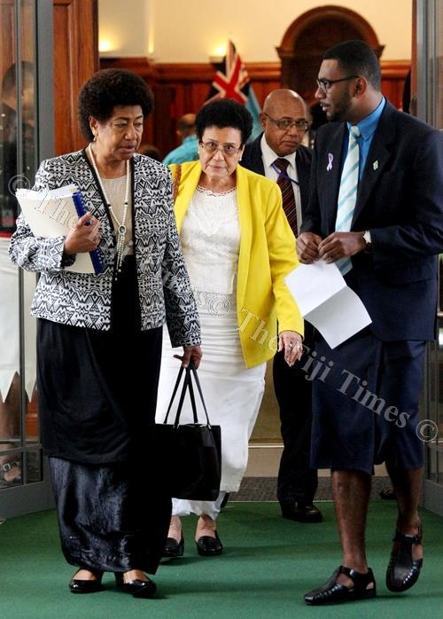 Leader of Opposition Ro Teimumu Kepa and Mere Samisoni in Parliament. Picture: JONA KONATACI