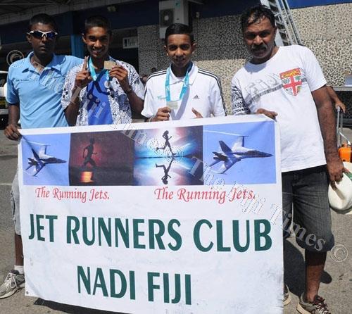 From left: Jet Runners Club president Abhinesh Kumar, Avikash Lal, Ravnil Rinesh Kumar and coach Parshotam Lal. Picture: JET RUNNERS CLUB