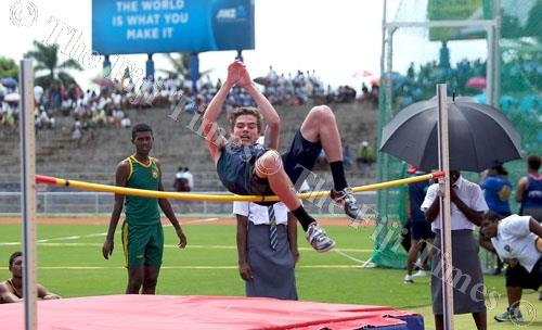 George Siddell of International Secondary School takes part in the Intermediate boys high jump final. Picture: ELIKI NUKUTABU