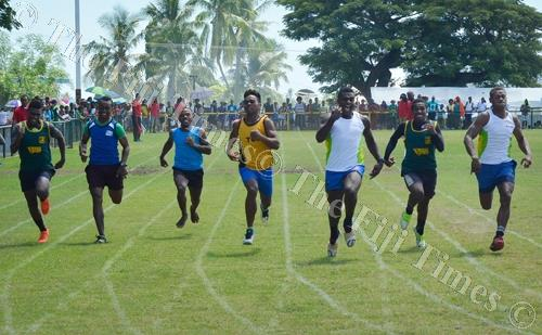 The senior boys 100m final during the Tavua, Ra, Nadarivatu, Vatukoula Zone meet at Garvey Park in Tavua. Picture: BALJEET SINGH