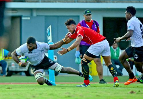 Fiji Warriors loose forward Albert Tuisue dives over to score a try against Tonga A during the World Rugby Pacific Challenge match at the ANZ Stadium in Suva this afternoon. Picture: JONACANI LALAKOBAU