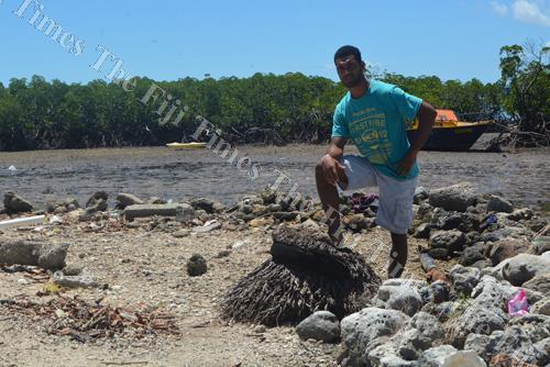 Semi Rokodinono shows the impact of climate change at Vio Village in Lautoka. Picture: REINAL CHAND