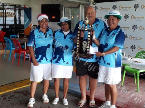 From left; Loretta Kotoisuva, Radhika Prasad, Suva Bowling Club trustee Gary Barnett and Litia Tikoisuva during the Bowls Fiji National Triples in Suva last month. Picture: SUPPLIED