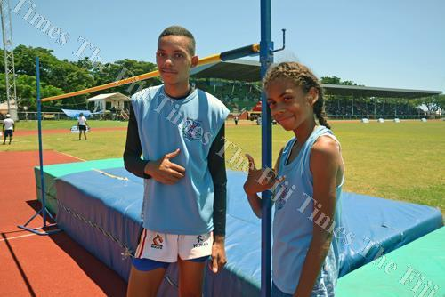 Siblings Trivet (left) and Lisa Lockington at the Coca-Cola Ba Zone meet at Churchill Park in Lautoka yesterday. Picture: REINAL CHAND