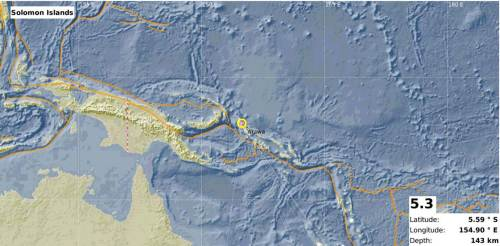 This image showing the epicentre of the 5.3 magnitude earthquake that occurred in the Solomon region this afternoon. Picture: SUPPLIED